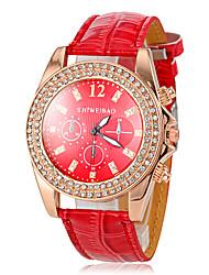 Women's Diamante Gold Case Red Leather Band Quartz Fashion Watch Cool Watches Unique Watches Strap Watch