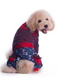 cheap -Dog Jumpsuit Dog Clothes Plaid/Check Red Green Cotton Costume For Pets Men's Women's Fashion