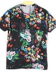 billige -Herre-Multi Farve Trykt mønster Klassisk & Tidløs T-shirt