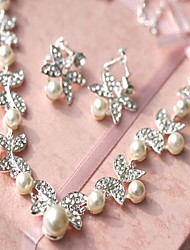 Women's Rhinestone Wedding Imitation Pearl Alloy Earrings Necklaces