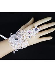 maglia di pizzo guanti senza dita polso lunghezza di nozze con strass asg44