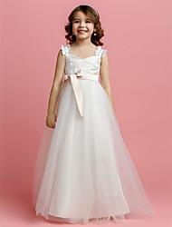 Una línea de longitud del piso vestido de niña de flores - tul con correas sin mangas con cinta de lan ting novia ®