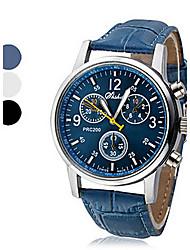 Недорогие -Муж. Наручные часы Кварцевый Повседневные часы Кожа PU Группа Аналоговый На каждый день Черный / Белый / Синий - Белый Черный Синий Один год Срок службы батареи