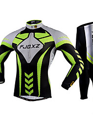 cheap -FJQXZ Men's Long Sleeves Cycling Jersey with Tights - Green Bike Tights Clothing Suits, 3D Pad, Quick Dry, Ultraviolet Resistant,