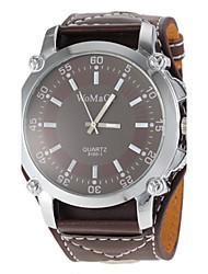 Unisex Brown Dial Wide PU Band Quartz Wrist Watch Cool Watch Unique Watch