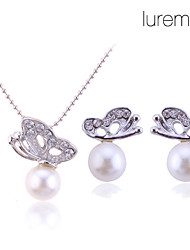 cheap -Women's Jewelry Set Stud Earrings Pendant Necklaces Basic Bridal Elegant Wedding Party Gift Daily Pearl Alloy Animal Butterfly Earrings