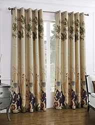 cheap -Rod Pocket Grommet Top Tab Top Double Pleat Two Panels Curtain Modern, Print Cartoon Bedroom Polyester Material Curtains Drapes Home