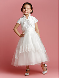 A-Line Tea Length Flower Girl Dress - Tulle Short Sleeves Jewel Neck by LAN TING BRIDE®