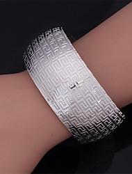 abordables -u7® vendimia 18k brazalete g patrón de las mujeres oro verdadero grueso llenar platino plateado pulsera para las mujeres o los hombres