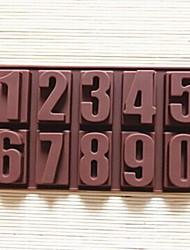 numeri della torta di figura muffa della gelatina ghiaccio muffa del cioccolato, silicone 22 × 11,2 × 2 cm (8.7 × 4.4 × 0.8 pollici)