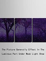 رخيصةأون -فن القماس LED مناظر طبيعية خيال ثلاث لوحات الطباعة جدار ديكور تصميم ديكور المنزل