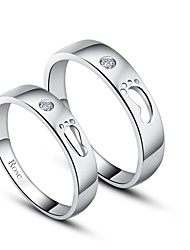 cheap -Personalized Gift Simple 925 Sterling Silver Couples Rings