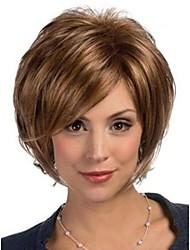 donne marrone signora brevi parrucche sintetiche diritte medie