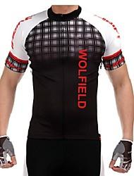 WOLFBIKE Maillot de Cyclisme Homme Manches Courtes Vélo Maillot Hauts/Top Séchage rapide Zip frontal Respirable Matériaux Légers Poche