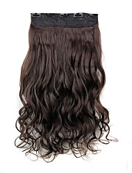 cheap -24 Inch 120g Long Dark Brown Heat Resistant Synthetic Fiber Curly Clip In Hair Extensions with 5 Clips