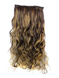 cheap -24 Inch 120g Long Heat Resistant Synthetic Fiber Curly Clip In Hair Extensions with 5 Clips