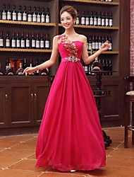A-Line One Shoulder Floor Length Satin Formal Evening Dress with Crystal Detailing Flower(s) Sash / Ribbon Sequins by Embroidered bridal