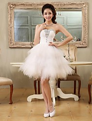 A-Line Princess Sweetheart Short / Mini Tulle Cocktail Party Homecoming Dress with Beading Lace Pleats by Embroidered bridal