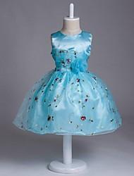 Vestido de menina de flor de joelho com uma linha de joias - Organza com colar de jóias sem mangas com flor