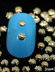 100pcs * 3mm 3mm coque métallique d'or 3d nail art décoration