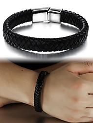 preiswerte -Super-Mann-Mode Leder handgewebte Titan Stahl Schnalle Armband Schmuck