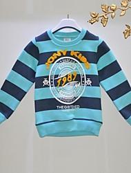 baratos -Camiseta Listrado Outono Manga Longa Azul