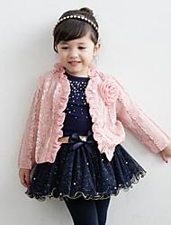 cheap -Girl's Pink Princess Skirt Three-piece Sets Flower Tulle Short Skirt Coat Long T-shirt Flower Outwear