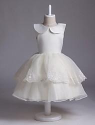 Недорогие -Онлайн жемчужина длиной до колен из органзы цветок девочки платья