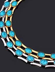 abordables -Mujer Forma Moda Gargantillas Collares de cadena Collar vintage Chapado en Plata Chapado en Oro Turquesa Gargantillas Collares de cadena