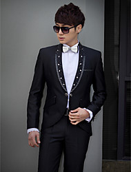 Black Beading Slim Fit Tuxedo In Polyester