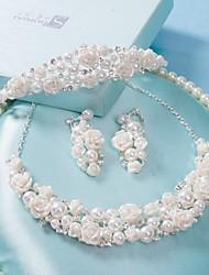 Недорогие -корейский горный хрусталь свадьбы свадебный жемчужное ожерелье из трех частей короны головной убор