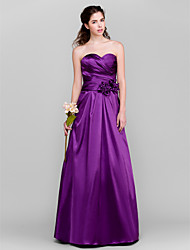 cheap -A-Line Sweetheart Floor Length Taffeta Bridesmaid Dress with Flower(s) Criss Cross by LAN TING BRIDE®