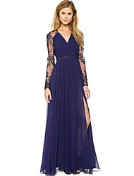 Q.S.H Women's Elegant Lace Sleeve V Neck Dress