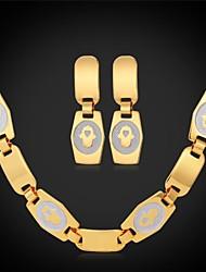 Недорогие -u7®hamsa руки ладонями цепи ожерелье болтаться серьги 18k реальное позолоченные колье ожерелье комплект ювелирных изделий