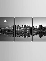 e-home® lona esticada arte cidade cena noturna Cenário pintura de 3