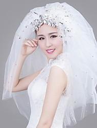 Hochzeitsschleier Vier-Schichten 35,43 in (90cm) Satin Weiß