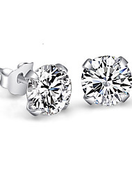 cheap -Women's Stud Earrings Crystal Imitation Diamond Simple Style Bridal Costume Jewelry Sterling Silver Crystal Rhinestone Four Prongs Jewelry