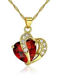 Feminino Colares com Pendentes Colares Declaração Formato de Coração Chapeado Dourado Amor Vermelho Jóias Para