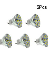 4W GU4(MR11) LED Spotlight 12 SMD 5730 450 lm Warm White Natural White 3500/6000 K DC 12 V 5pcs