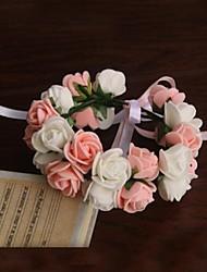 economico -Bouquet sposa Tondo Rose Braccialetto floreale Matrimonio Partito / sera Raso Carta