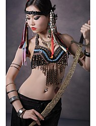 Belly Dance Tops Women's Performance Cotton Metal Copper Coins Buttons