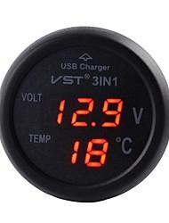 abordables -coche montado en el cargador, monitor de la batería del coche y el termómetro digtial, 3 en 1, cargador usb