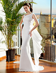 cheap -Mermaid / Trumpet Straps Sweep / Brush Train Satin Chiffon Wedding Dress with Criss-Cross by LAN TING BRIDE®