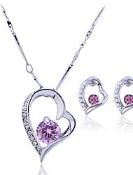 cheap -Women's Crystal Jewelry Set - Crystal, Zircon, Cubic Zirconia Heart, Love Luxury Include White / Pink For Party Birthday Engagement / Earrings / Necklace
