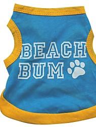 baratos -Gato Cachorro Camiseta Roupas para Cães Carta e Número Azul Algodão Ocasiões Especiais Para animais de estimação Verão