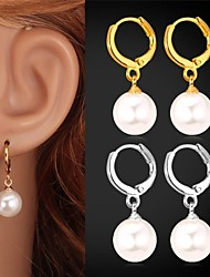 cheap -U7®Pearl Drop Earrings 18K Gold Platinum Plated White Pearl Water Drop for Women