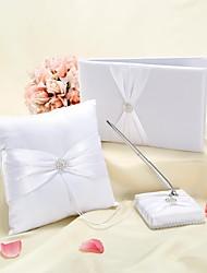 Coleção de casamento conjuntos com anel de travesseiro conjunto de convidados livro livro branco
