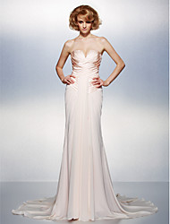 Mermaid / Trumpet V-neck Court Train Chiffon Satin Formal Evening Dress with Criss Cross by TS Couture®