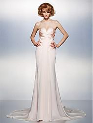 Trompete / Meerjungfrau V-Ausschnitt Hof Schleppe Chiffon Satin Formeller Abend Kleid mit Überkreuzte Rüschen durch TS Couture®