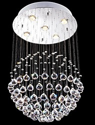 cheap -LED Crystal CHandelier Lighting 5 Lights Modern Silver Round Canpoy Transparent K9 Crystal Living Room Fixtures